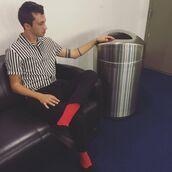 shirt,tyler joseph,celebrity,singer,mens shirt,striped shirt,short sleeve,pants,mens pants,black pants,sneakers,black sneakers,menswear,mens sneakers,socks,red socks
