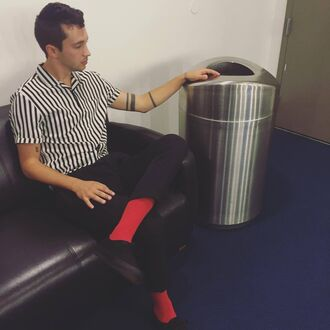 shirt tyler joseph celebrity singer mens shirt striped shirt short sleeve pants mens pants black pants sneakers black sneakers menswear mens sneakers socks red socks