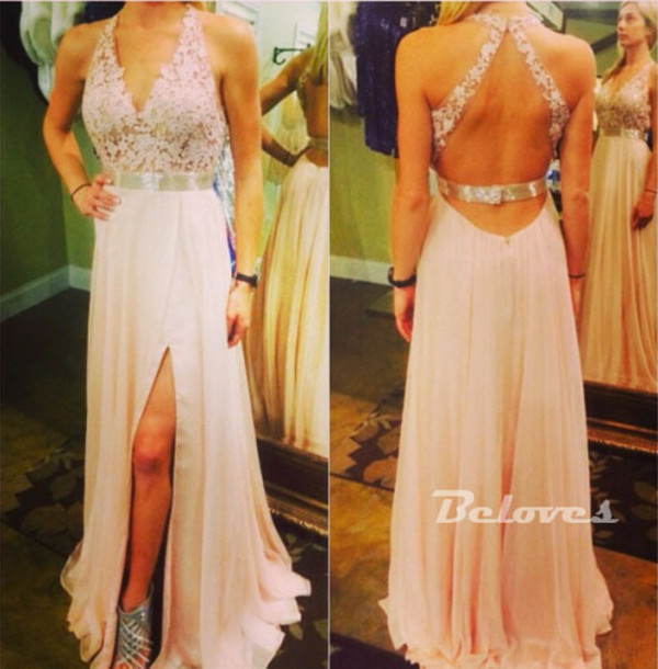 dress pearl pink chiffon v neck gown