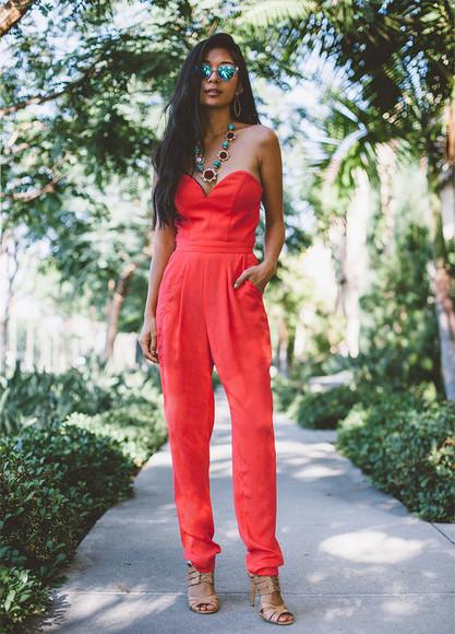 jewels honey and silk blogger jumpsuit sunglasses