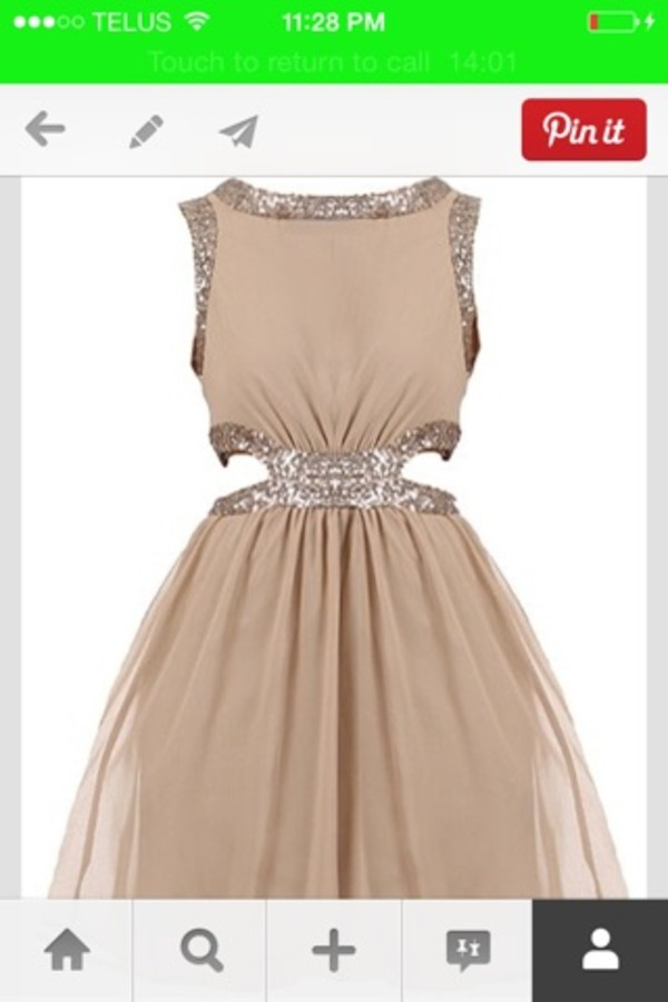 dress sparkle beige