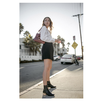 the limits of control blogger shoes bag shirt skirt black skirt mini skirt shoulder bag brown bag ankle boots