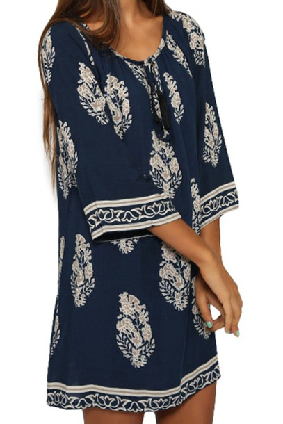 dress leaf print tile shift dress shirt blouse top clothes outfit fashion zaful navy dress fall dress blue boho style trendy gypsy girly girl girly wishlist