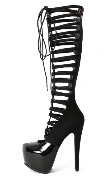 Privileged Wing-s Lace Up Cut Out Booties | MakeMeChic.com