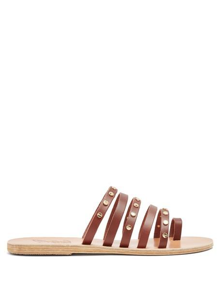 Ancient Greek Sandals nails embellished sandals leather sandals leather dark brown shoes