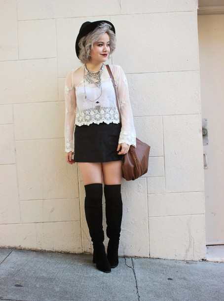 broke hell blogger lace top black skirt knee high boots skirt top jewels hat bag shoes