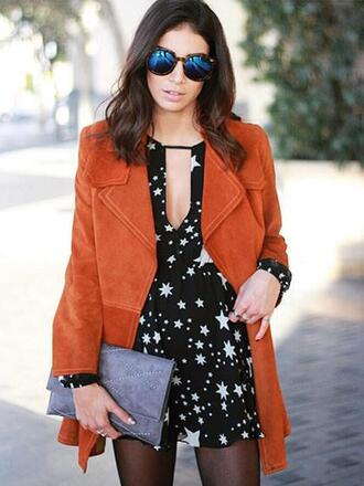 dress mynystyle black dress black stars summer jacket suede brown fashion fall outfits streetstyle casual