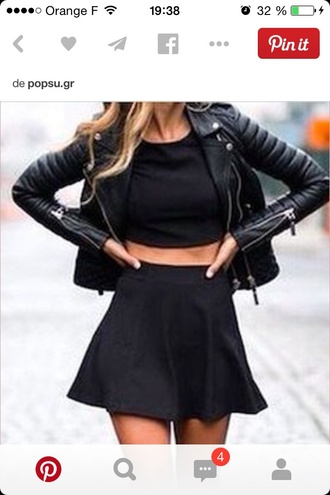 jacket leather jacket perfecto skirt t-shirt