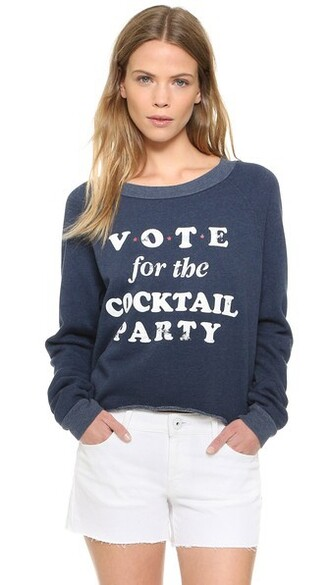 sweatshirt cropped blue sweater