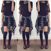dress,flannel,t-shirt dress,outfit,girl,hair,oufit,shoes,DrMartens,clothes,over the knee socks,shirt,socks,dress shirt.  flannel. knee socks.,black dress,simple black dress,flannel shirt,over the knee,cute outfits,tumblr outfit,tumblr top,tumblr girl,tumblr clothes,tumblr dress,style,stylish,trendy,trending dress,on point clothing,cute,fashionista,chill,fashion inspo,outfit idea,blogger,blouse,tights,top,grunge t-shirt,long t-shirt dress,black t-shirt,grunge,black,t-shirt,tight,black tights,black boots,black shorts,white t-shirt,white crop tops,white dress,black heels,t- shirt dress,grey,tumblr,summer,black long top