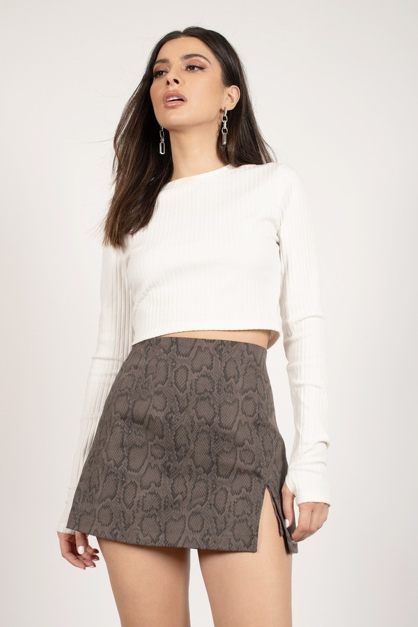 Rattle Off Charcoal Snake Print A-Line Skirt