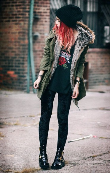 jacket military fur lined military green fur grunge