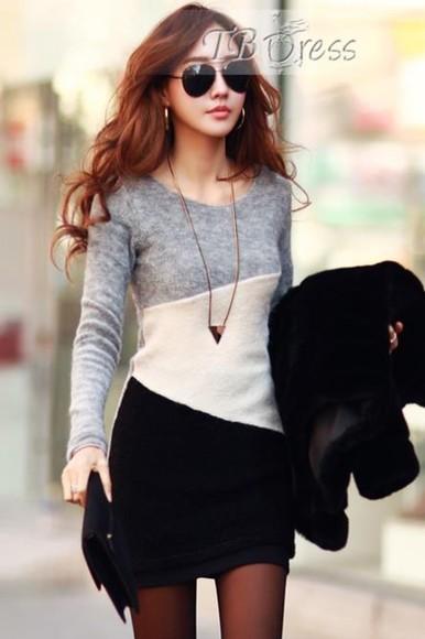 sweater color block dress black sweater dress sweaterdress grey white