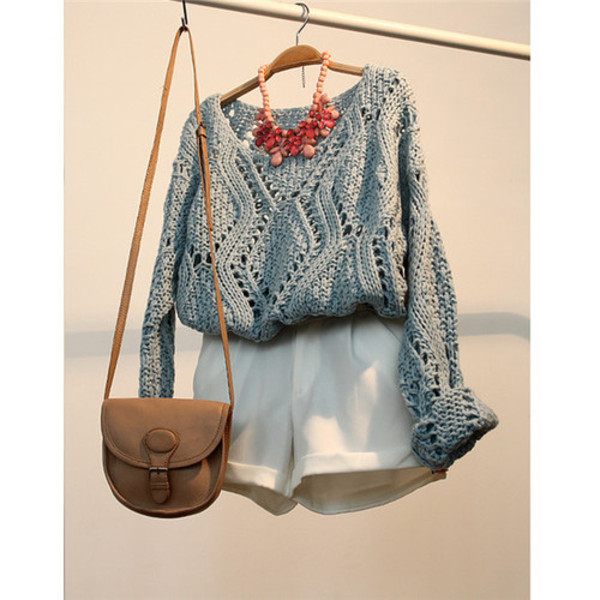 shorts knitted sweater necklace statement necklace sweater bag jewels pants grey grey white brown dress sweatpants ASAP Rocky streetstyle blouse colorful