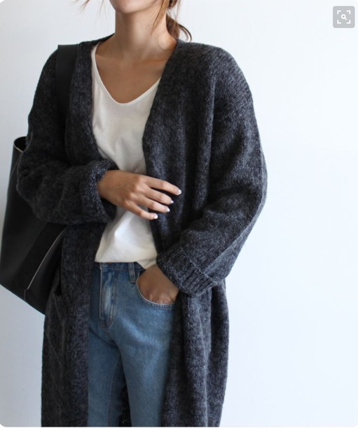 cardigan, loose fit sweater, charcoal, lounge wear, cardigan ...