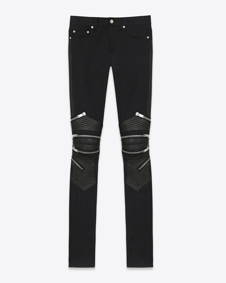 Saint Laurent Signature Biker Pants In Black Stretch Denim