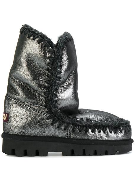 Mou metallic women winter boots grey shoes