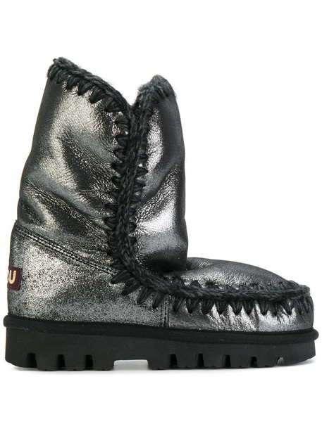 metallic women winter boots grey shoes