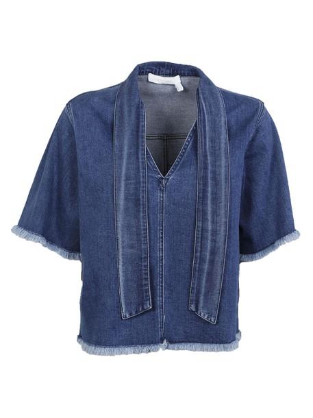 blouse denim blouse denim top