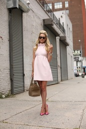 atlantic pacific,dress,shoes,bag,sunglasses,jewels,light pink,classy,50s style
