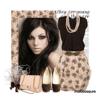 skirt blouse bag shoes jewels black bow cream pink skirt cream skirt