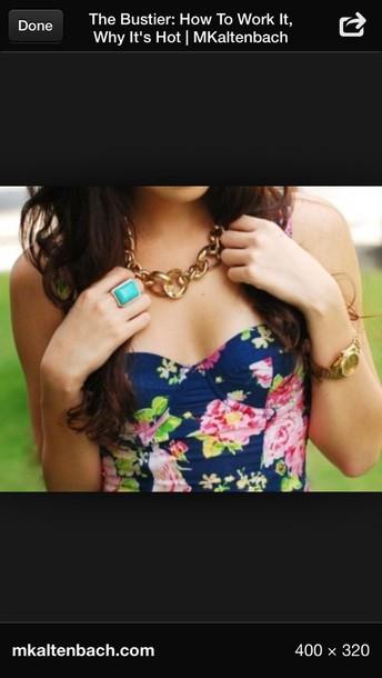 blouse gold necklace flowers gold dress bustier
