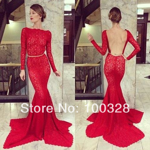Aliexpress.com : buy 2014 new design sexy scoop with lace trumpet/mermaid floor length court train full witn lace open back lace long evening dress from reliable design version suppliers on rose wedding dress co., ltd
