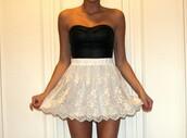 skirt,skater skirt,lace,white,white skirt,black,black top,bandeau,ruffle,beautiful,summer,shirt,dress,short dress,black and white dress,cute,cute dress,black and white,cream skater skirt
