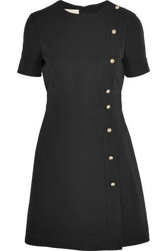 dress mini dress mini pearl embellished silk wool black
