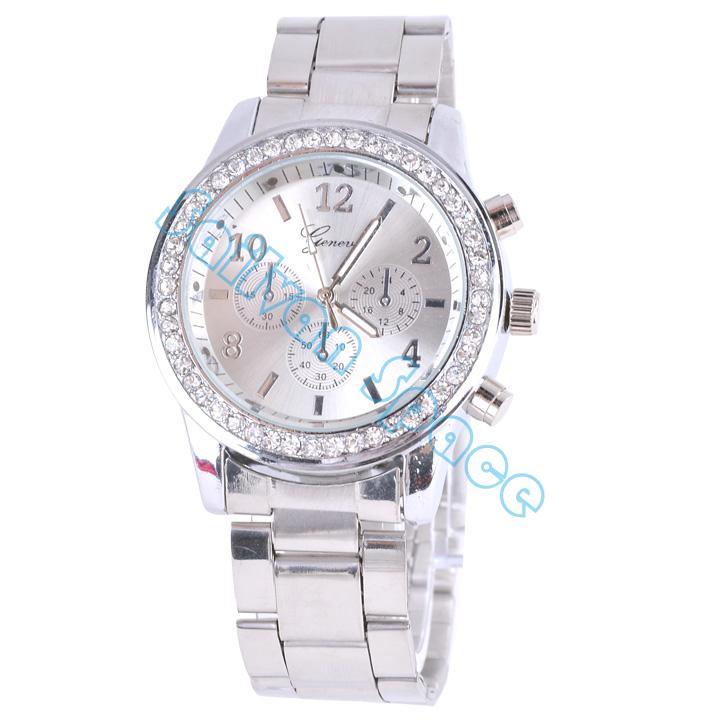 Best sale geneva stainless steel crystal wrist watch women casual watch ladies quartz watch analog wristwatches sv10 sv007023
