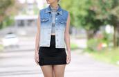 jacket,vest,denim,denim vest,gradient,studs,studded vest,studded denim vest,stripes,miniskirt