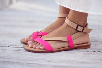 shoes fluo pink sandals flats tumblr tumblr shoes neon nude sandals beige nude strappy leather sandals flat sandals