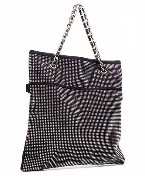 bag tote black cute chain sparkle black tote bag unique envelope tote rhinestone black rhinestone classy trendy