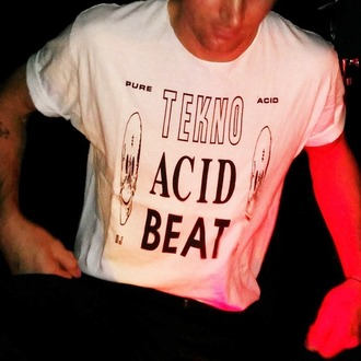 t-shirt acid wash tekno acid beat tekno acid beat 2 smileys smiley smileys smiley face top white white t-shirt with black letters black letters techno techno music