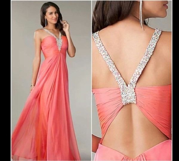 dress prom dress chiffon long prom dress peach dress silver