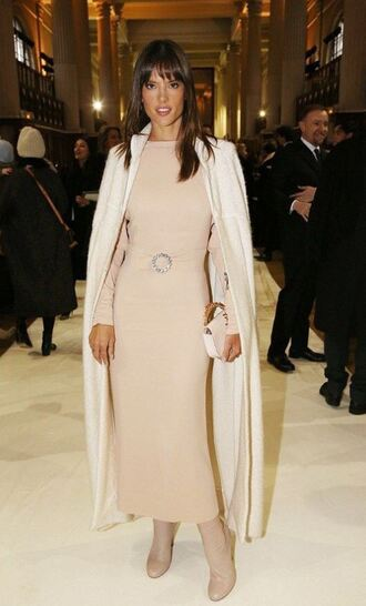 dress nude nude dress alessandra ambrosio model off-duty fashion week 2017 coat long sleeves long sleeve dress model celebrity celebrity style celebstyle for less bodycon bodycon dress party dress fall dress fall outfits winter dress winter outfits classy dress elegant dress cocktail dress cute dress girly dress date outfit birthday dress red carpet dress red carpet club dress homecoming homecoming dress wedding clothes wedding guest romantic dress fashion week monochrome outfit