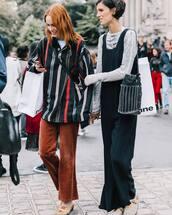 pants,tumblr,corduroy,brown pants,top,stripes,striped top,jumpsuit,black jumpsuit,streetstyle