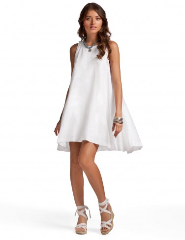 White Trinity Dress - White Linen Resort Dress | Island Company