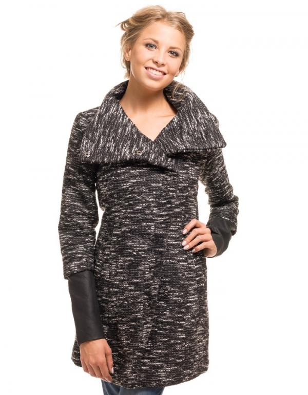 Abrigo de lana rizada mangas negras en cuero de Only | BUYLEVARD