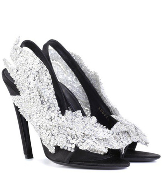 Balenciaga embellished sandals satin black shoes