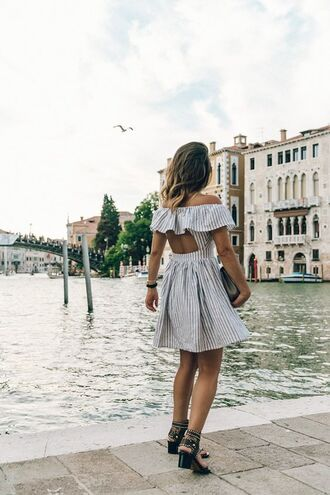 dress linen cold shoulder linen dress striped dress open back dresses backless dress off the shoulder dress sandals mid heel sandals black sandals collage vintage blogger