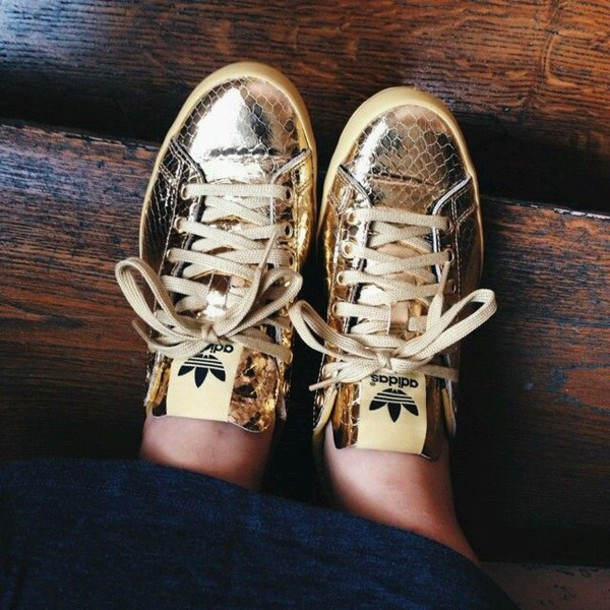 dced1eafece7 shoes adidas gold shoes gold adidas nike style swag gold metallic golden  adidas low top sneakers