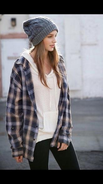 flannel shirt jacket beanie