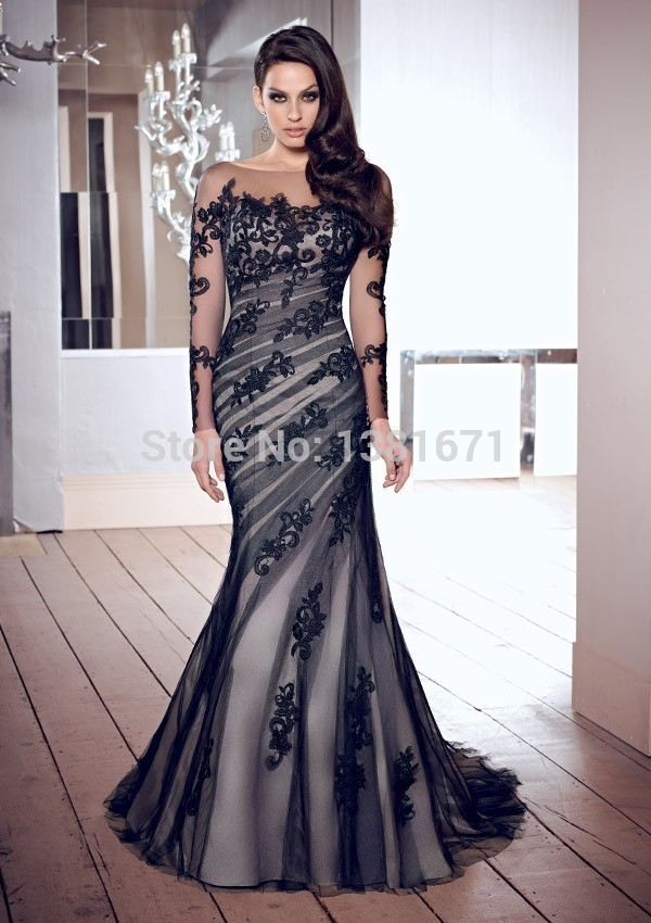 Aliexpress.com : Buy Elegant Black Sexy Back Square Long Sleeves Fashion Applique Tulle Evening Dress from Reliable dress shoes women wide suppliers on Aojia Top Evening Dress
