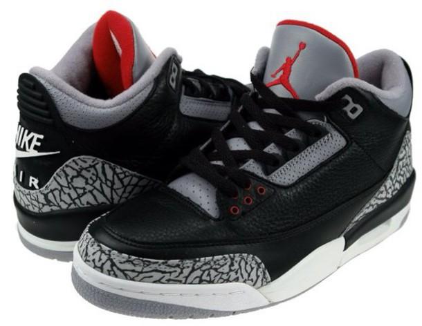 shoes jordans black cement retro white red nike print