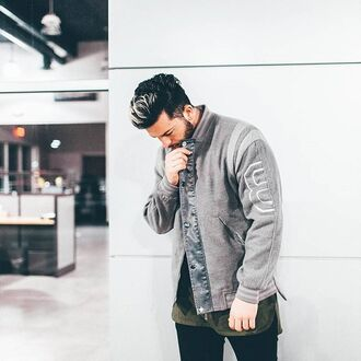 jacket maniére de voir varsity jacket grey jacket menswear coat outerwear fashion style trendy casual 36683