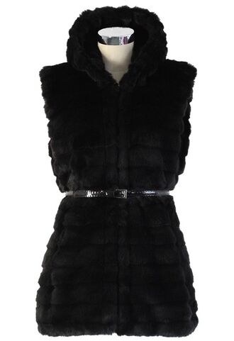 faux fur vest black faux fur faux fur waistcoat hooded waistcoat hooded vest sleeveless waist belt quilted faux fur www.ustrendy.com
