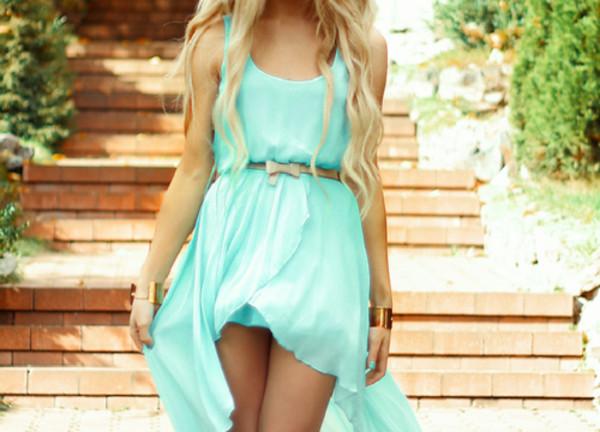 sundress blue dress belt blonde hair hair bracelets short dress asymmetrical dress sundress jewelry bracelets asymmetrical