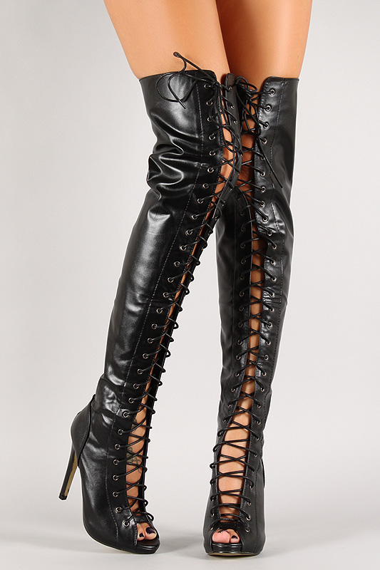 Leatherette lace up thigh high boot