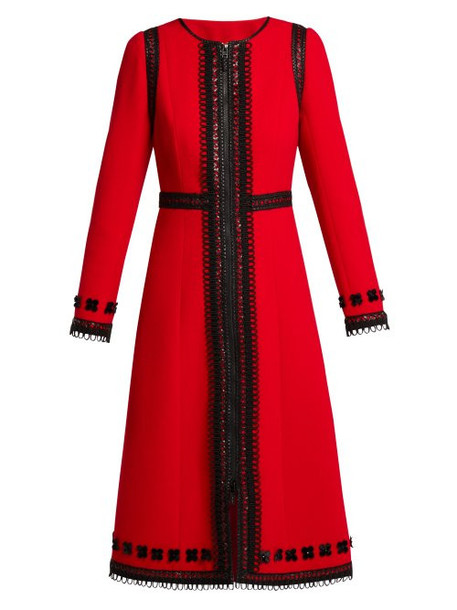 Andrew Gn - Lace Trimmed Wool Crepe Coat - Womens - Red